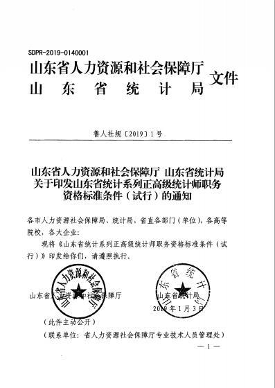 山东省统计系列正高级统计师职务资格标准条件(试行)1